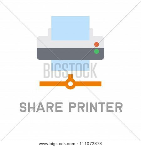 Net Share Printer Icon on White Background. Vector