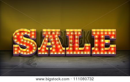 Realistic retro sign sale. The volume is a sign with lamps and wall lights. Realistic illuminated sign with lamps. Holiday discounts, promotions. Vintage sale signboard. Vector illustration poster