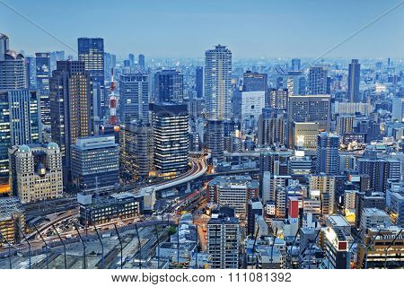 Osaka, Japan city skyline at the landmark Umeda District.