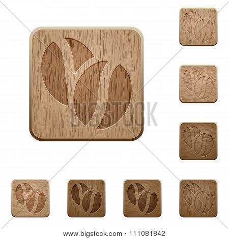 Coffee Beans Wooden Buttons
