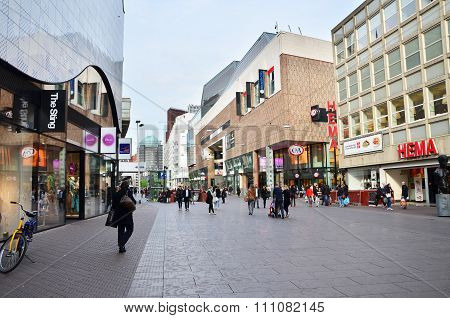 The Hague, Netherlands - May 8, 2015: People Shopping At Market Street In The Center Of The Hague