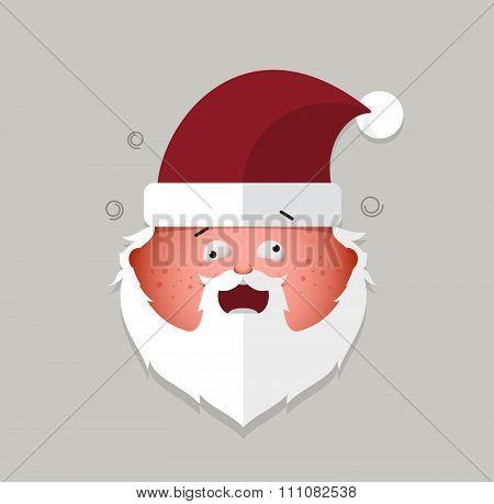 Flat Santa Claus Cheeky Emoticon. Vector Illustration.