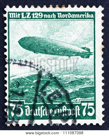 Postage Stamp Germany 1936 Hindenburg, Airship