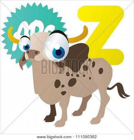 vector cartoon animals alphabet:Z is for Zebu