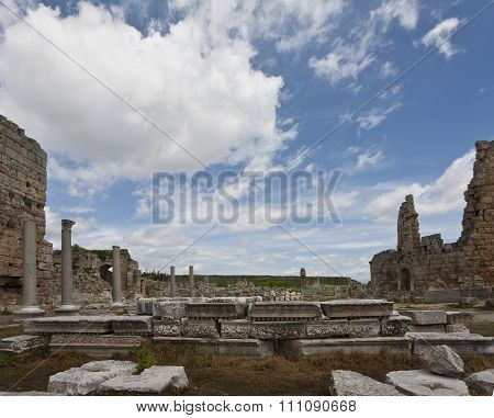 Ruins Of Perga In Turkey With Hellenistic Gates
