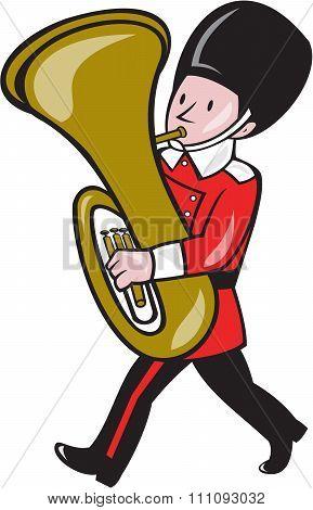 Brass Band Member Playing Tuba Cartoon