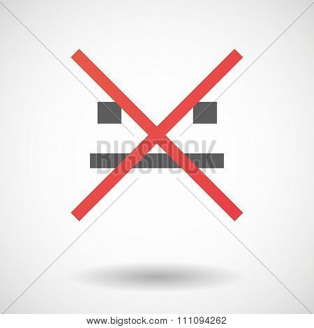 Not Allowed Icon With A Emotionless Text Face