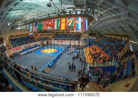 Stadium Druzhba In Wide Angle View Just Before The World Sambo Championsh