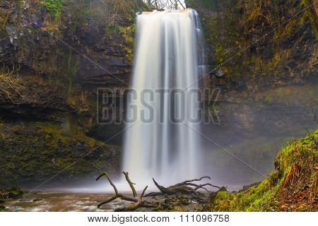 Sgwd Henrhyd Falls waterfall. Coelbren Powys Wales United Kingdom winter. poster