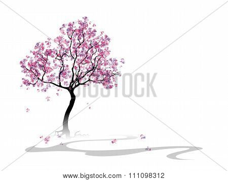 Colorful abstract blooming tree