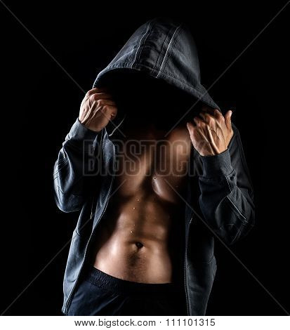 Dangerous Man With No Face Wearing Jacket With Hood