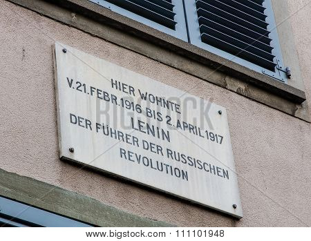 Memorial Plate On The Facade Of The Spiegelgasse 14 House