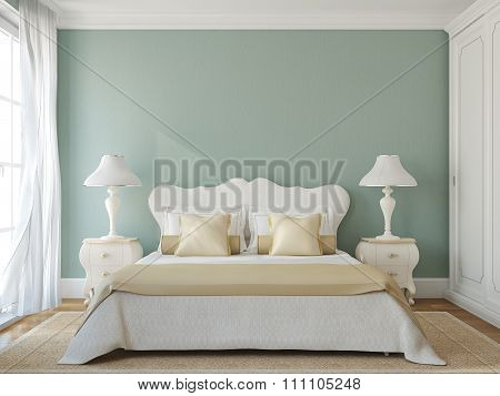 Classic Bedroom Interior. 3d render.