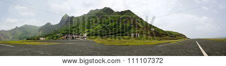 Airport Runway Under Mountain
