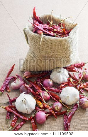 Thai's Food Ingredients (dried chilli, garlic ,shallot) on woody background.