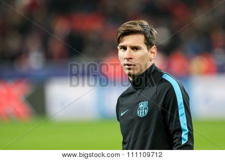 Leverkusen Germany- December 9 2015: Lionel Messi before the beginning the UEFA Champions League game between Bayer 04 Leverkusen vs Barcelona at BayArena stadium poster