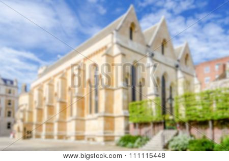 Defocused Background Of Temple Church In London, Uk