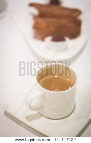 Coffee Expresso Cup Saucer In Restaurant