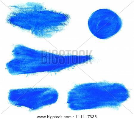 Set Of Watercolor Blue Brush Strokes.
