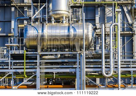 Pipelines of a oil and gas refinery industrial plant.