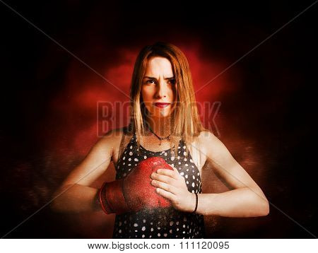 Kickboxing Gym Girl In Boxing Fitness Competition