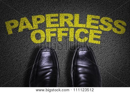 Top View of Business Shoes on the floor with the text: Paperless Office