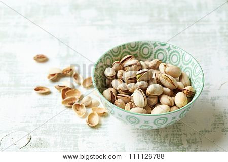 Roasted pistachios in a bowl