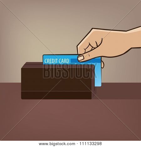 Outstretched Hand With Credit Card And Card Reader