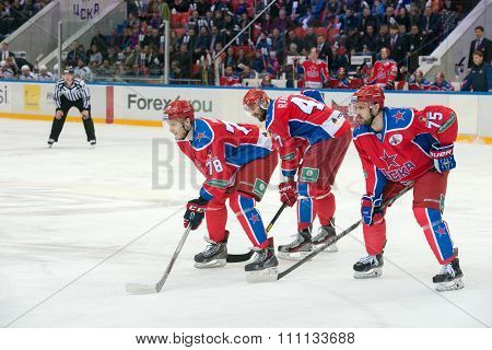 MOSCOW - MARCH 19, 2015: Maxim Mamin (78) in action on hockey game Yokerit vs CSKA on Russia KHL championship in the sports complex CSKA Moscow, Russia. CSKA won 4: 2