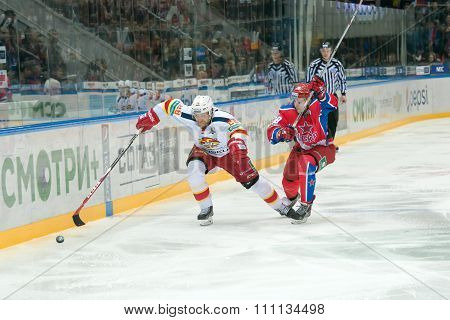 MOSCOW - MARCH 19, 2015: Jani Rita (28) in action on hockey game Yokerit vs CSKA on Russia KHL championship in the sports complex CSKA Moscow, Russia. CSKA won 4: 2