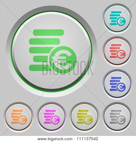 Euro Coins Push Buttons