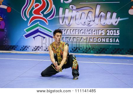 JAKARTA, INDONESIA - NOVEMBER 16, 2015: Po Wei Lai of Chinese Taipei performs the movements in the men's Nandao event at the 13th World Wushu Championship 2015 at the Istora Senayan Stadium.