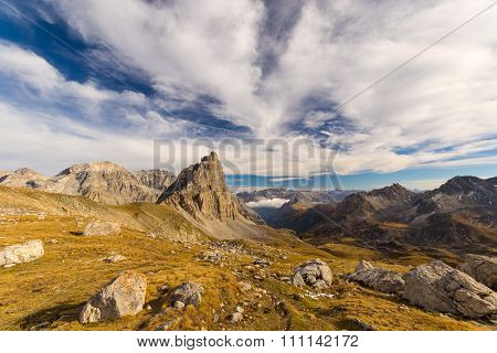 High Altitude Alpine Landscape And Scenic Sky In Autumn