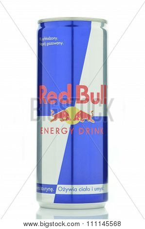 Red Bull energy drink isolated on white background