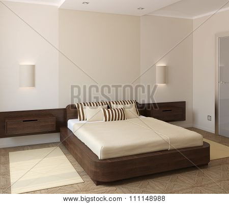 Interior Of Modern Bedroom. 3d render.