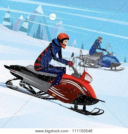 Friends Snowmachine Race