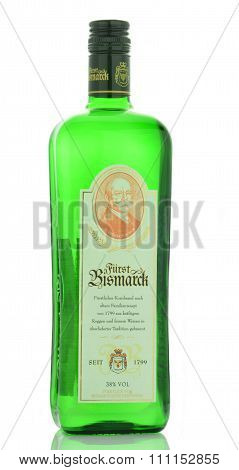 Furst Bismarck vodka isolated on white background
