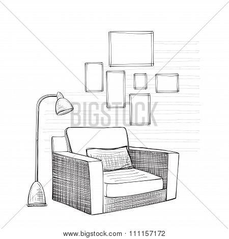 Hand drawn room interior sketch