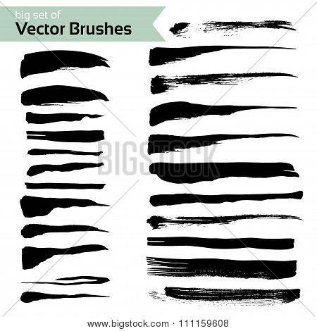 Big Set Of Abstract Brush Textured Strokes Isolated On A White Background