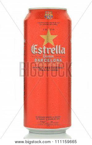 Estrella damm pilsner beer isolated on white background