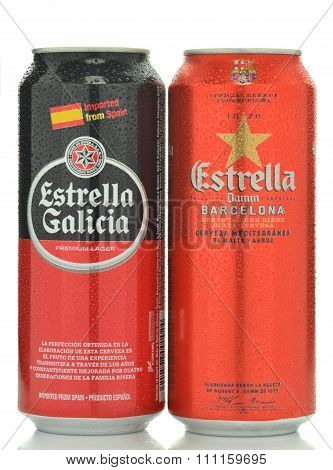 Estrella damm pilsner and Estrella Galicia pale lager beer isolated on white background