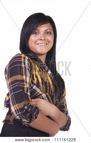 Cute Woman With Her Arms Crossed