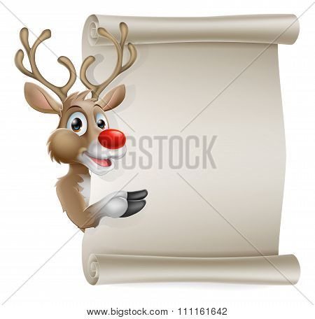 Cartoon Reindeer Scroll Sign