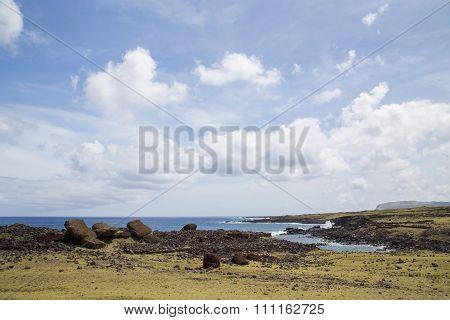 Toppled over Moais Akahanga on Easter Island