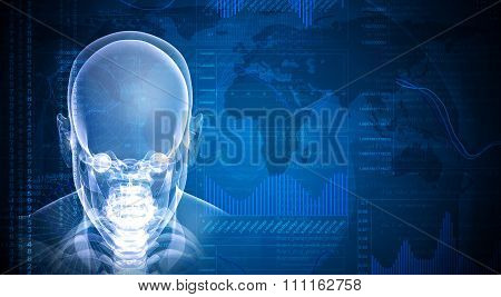 Front face skull x-ray image on blue background