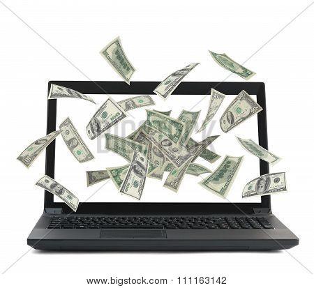 Black laptop with money flow