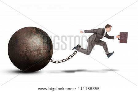 Young businessman jumping over gap on white