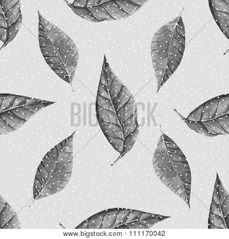 Watercolor leaves pattern
