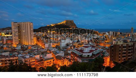 Aerial night view of Alicante