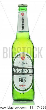 Perlenbacher premium pils beer isolated on white background